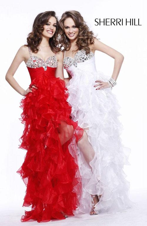 Вечерние красно белые платья 2
