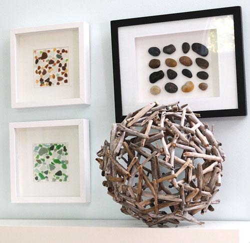 Deniz kabukları dallar deniz camı ve taşlar dekoratif aksesuar
